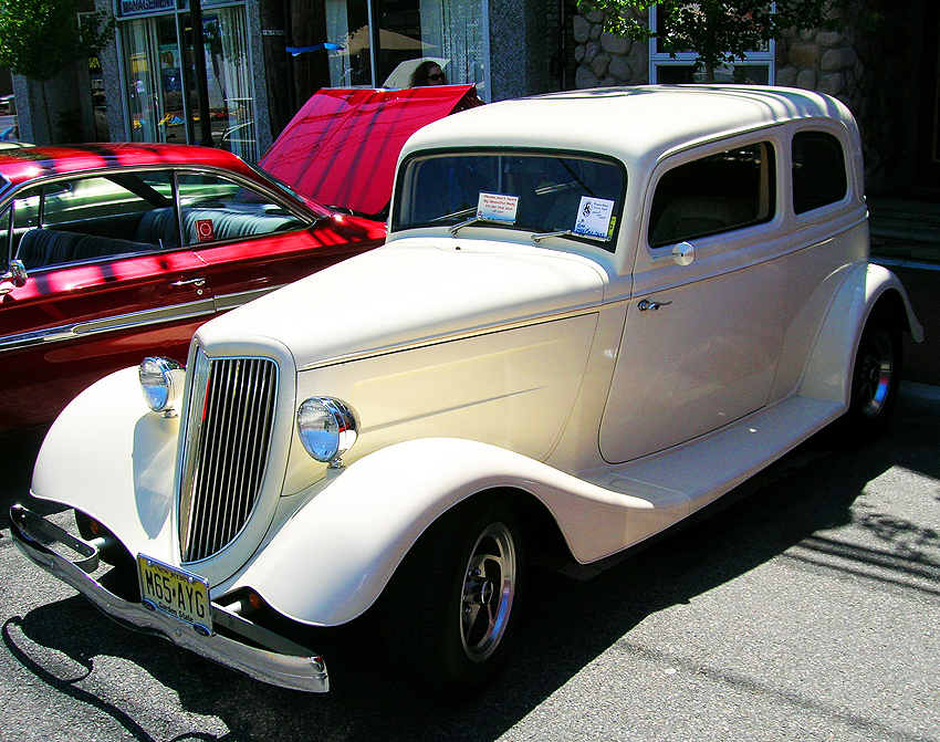 """A 1933 Ford """"5-window"""" coupe with lowered roof and souped up factory V8 engine.  (Photo credit: Sean Connor)"""