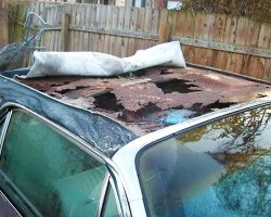 """Buyer beware"" if looking at purchasing an older vinyl-topped vehicle that has been kept outside and not cared for.  Here, extensive corrosion is found on the metal roof panel of a 1966 Thunderbird (Photo credit: G. Vida)"