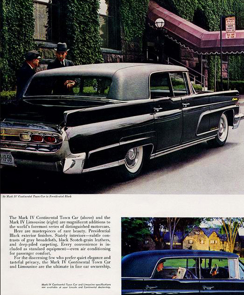 "Lincoln Town Car long-wheelbase ""limousines"" were all equipped with vinyl roofs from 1959-60, as this 1959 advertisement shows.  (Photo credit: Ford Motor Company)"
