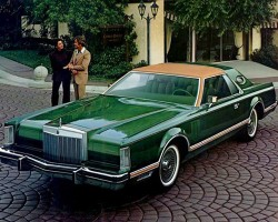 """CANOPY"" type roofs cover only the front portion of the roof.  Above, a 1977 Lincoln Mark V Givenchy Edition with a canopy vinyl roof.  (Photo credit: Ford Motor Company)"
