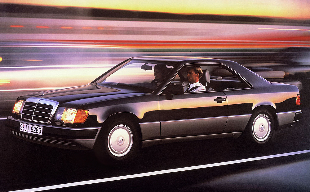 Factory promotional picture of a Euro market 1988 124 body coupe.  (Photo credit: Mercedes-Benz Classic)