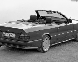"A euro-model 1993 300CE Cabriolet equipped with the AMG upgrade package.  1994 and later models were known as the ""E36"", reflecting the enlarged 3.6-liter engine.  (Photo credit: Mercedes-Benz Classic Center)"