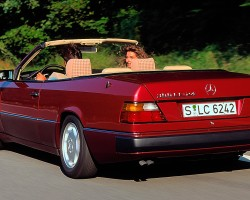 Rear view of a 1992 300CE-24 Cabrio Euro model.  While U.S. market versions featured leather interiors as standard, other markets had lower cost cloth interiors as shown here.  (Photo credit: Mercedes-Benz Classic)