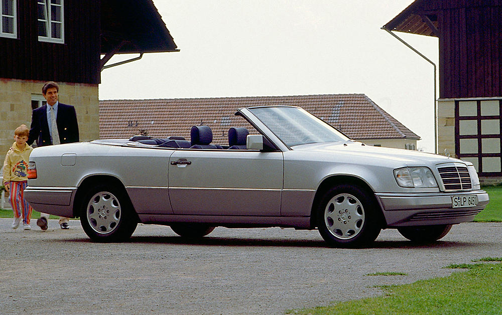 Alternate view of a 1994 Mercedes E200 Cabriolet.  (Photo credit: Mercedes-Benz Classic)