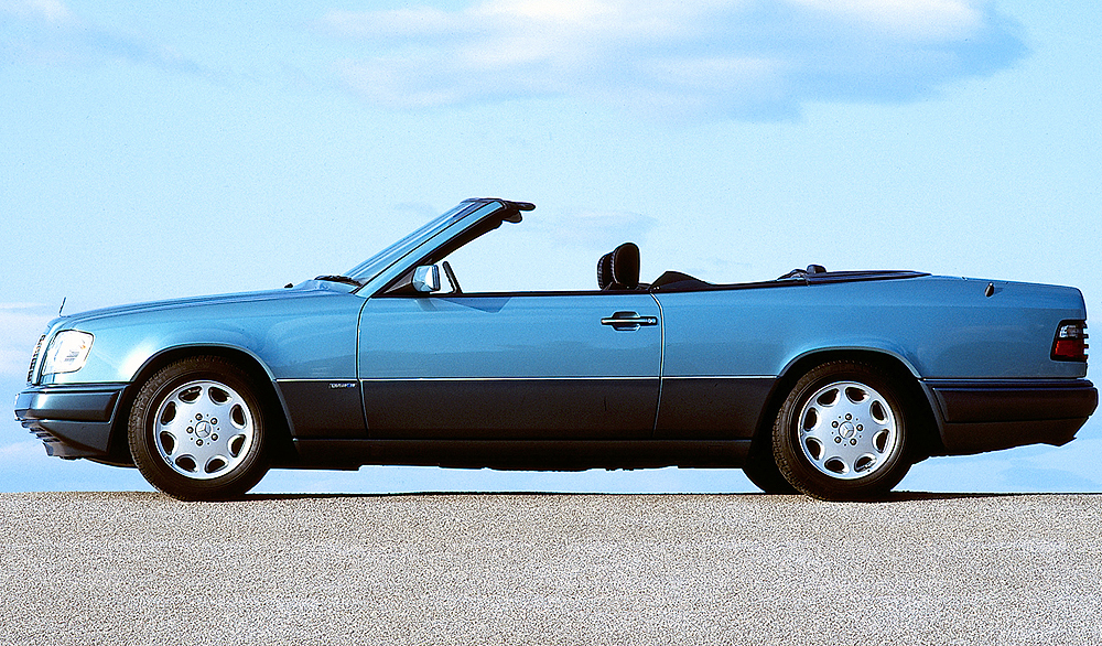 Side view of a Euro market E220 Cabriolet.  (Photo credit: Mercedes-Benz Classic)