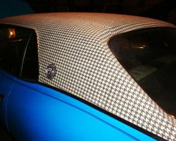 "A closer look at a 1970 Mercury Cougar equipped with a ""houndstooth"" vinyl roof."