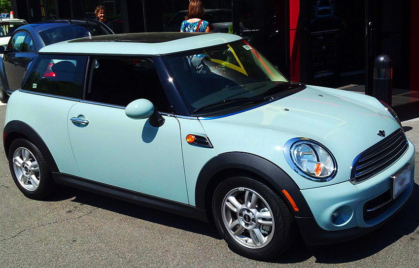 The Mini Cooper 2-door hatchback first made a reappearance for the 2002 model year, and was redesigned in current form for 2008. (2012 base model shown). Photo credit: S. Connor
