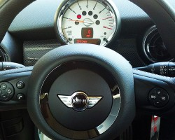 Tachometers are center mounted on Mini Coopers, as shown here.  (Photo credit: Sean Connor)