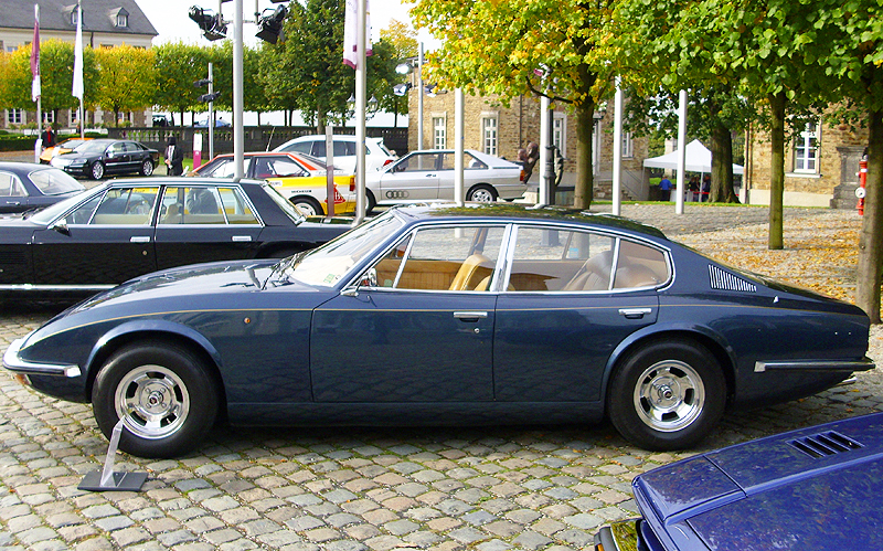 The Monica company was a vision of French railway company CEO Jean Tastevin.  Development began on this car in 1967, and just before actual production began the Triumph engine originally planned for use in the car was ditched in favor of an American Chrysler V8 (280 hp) and automatic transmission.  (Photo credit: Wikipedia)