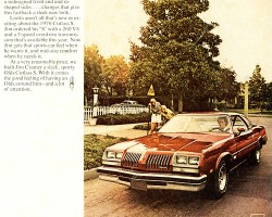 "This ad for the 1976 Oldsmobile Cutlass Supreme shows a perfect example of the buyer demographic that made mid-size ""personal luxury"" cars so popular during this time.   (Photo credit: General Motors Corporation)"