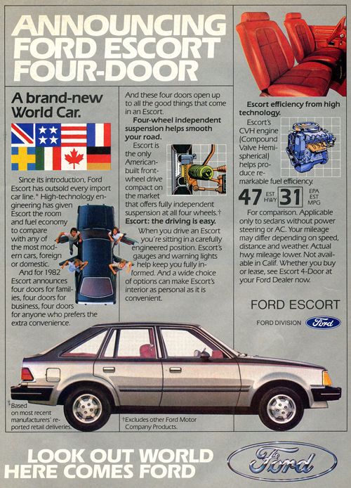 A 1982 Ford Escort advertisement. This was the first year that the best-selling car in America was front-wheel-drive and had no engine options larger than a four-cylinder.  (Photo credit: Ford Motor Company)