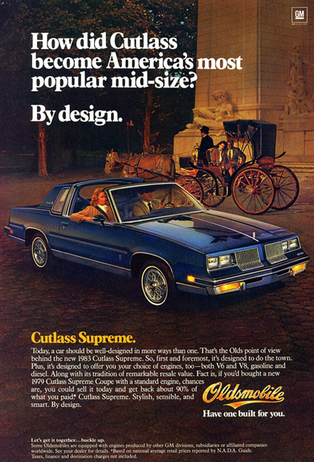 After being downsized for 1978, the Olds Cutlass Supreme put that nameplate back on top again for 1979, '80, '81, and '83 – edged out in 1982 by the newly introduced Ford Escort compact.  The 1983 Oldsmobile Cutlass Supreme marked the last year America's best-selling car featured rear-wheel-drive and did not have a transversely mounted engine.  (Photo credit: General Motors Corporation)