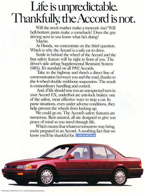 Although this Honda Accord advertisement is for a '92 model, 1991 Accords were identical.  1991 marked the first year an import acheived the number one selling status in the U.S.  (Photo credit: American Honda)