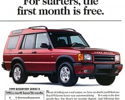 An advertisement introducing lease deals of the day for the new 1999 Discovery II.  (Photo credit: Land Rover USA)