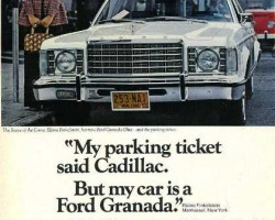 This 1976 ad gives a testimonial about how even people that should know better are mistaking the Granada for a Cadillac Seville, a competitor's envy product no less.  (Photo credit: Ford Motor Company)