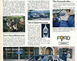 "A 1977 Granada is roadtested against a Mercedes 450SE for quietness and smoothness.  Interestingly, the Mercedes used in the comparison is not a '77 model because the 450SE model was only produced until '76.  But in fairness to Ford, they did only claim the Granada in the comparison to be ""new"" and unworn.  (Photo credit: Ford Motor Company)"
