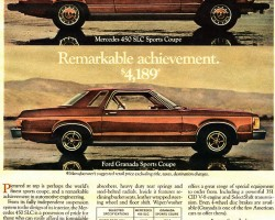 This 1977 Ford Granada ad makes claims of being very similar to a Mercedes SLC.  (Photo credit: Ford Motor Company)