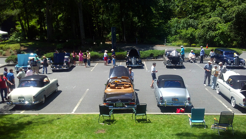 The lower parking deck concours show car section at June Jamboree show June 2012.  (Photo credit: Sean Connor)