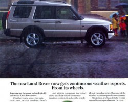 An advertisement highlighting the 1999 Discovery II's advanced electronic stability control system.  (Photo credit: Land Rover USA)