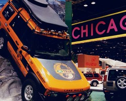 "A 1999 Land Rover Discovery TReK Edition at that year's Chicago Auto Show.  These vehicles were not originally sold to the public, but created during various years for use in ""TReK"" offroad challenges designed for dealership personnel training across the United States.  (Photo credit: Chicago Auto Show)"