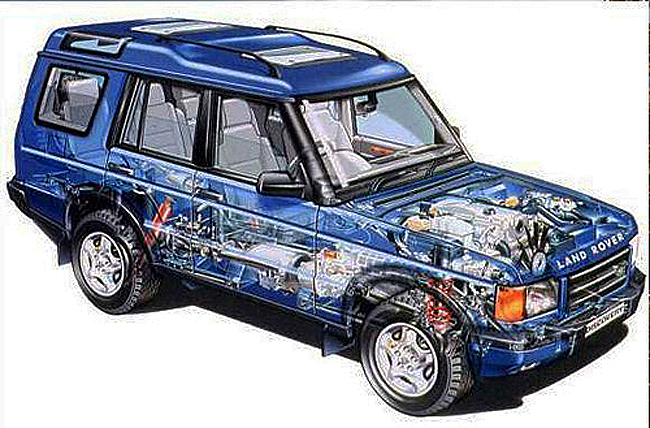 This Land Rover promotional picture shows a detailed mechanical drawing of the 1999 Land Rover Discovery.  (Photo credit: Land Rover USA) A promotional mechanical dra