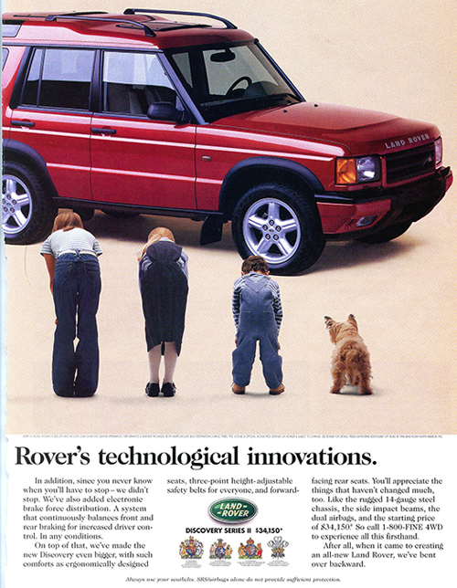 (Page 1 of 2) A two-page ad highlighting the more roomy third-row seating capacity of the new 1999 Discovery II.  (Photo credit: Land Rover USA)