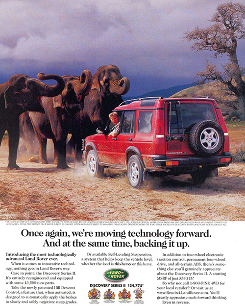 One of the first magazine advertisements run when the Discovery II replaced the Discovery I during the 1999 model year.  Both were produced as 1999 models.  More advertisements are at the end of this slideshow.  (Photo credit: Land Rover USA)