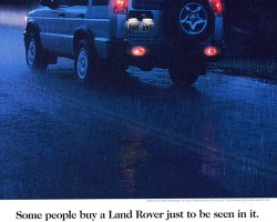 This 2000 advertisement highlights the Discovery's rear foglights.  (Photo credit: Land Rover USA)