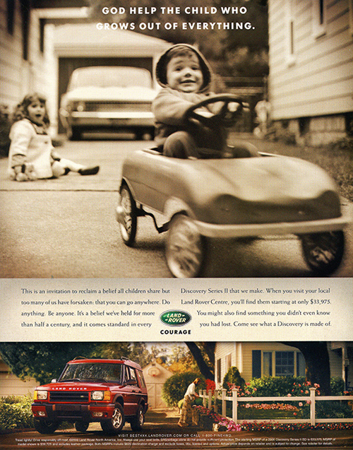 2000 Discovery advertisement, U.S. market.  (Photo credit: Land Rover USA)