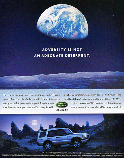 A 2000 Discovery ad, U.S. market.  Optional 18-inch wheels are shown on this model.  (Photo credit: Land Rover USA)