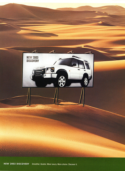 A Discovery advertisement introducing the revised 2003 model.  Shown here is a newly created HSE high-luxury model.  (Photo credit: Land Rover USA)
