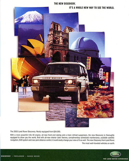 This 2003 Discovery ad displays all the locations in the world where Land Rovers are popular.  (Photo credit: Land Rover USA)