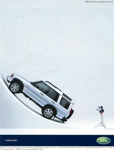 A United Kingdom home market advertisement for the 2004 Discovery, featuring a money shot modeling pose.  (Photo credit: Land Rover U.K)