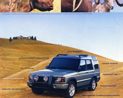 A 2004 Discovery HSE ad shows a variety of tusks and horns to illustrate the value of the optional brush guard mounted on the front grille.  (Photo credit: Land Rover USA)