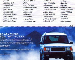 A 2005 advertisement focusing on Certified Pre-Owned Discoverys - a 2001 model in this case.  (Photo credit: Land Rover USA)