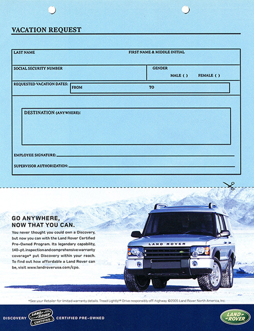 A final 2005 advertisement for the Discovery II series discusses certified-pre-owned models.  (Photo credit: Land Rover USA)