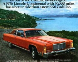 "this 1976 Lincoln Continental ad is a good example of a more traditional type of ""compare and criticize"" advertising used since the dawn of the automobile between competitive brands of similar price levels.  (Photo credit: Ford Motor Company)"