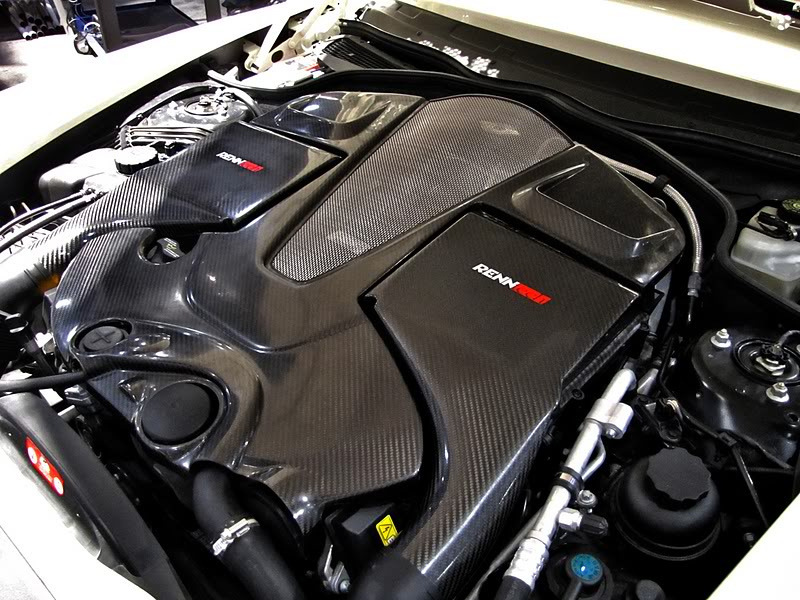 An engine cover fabricated from carbon fiber was crafted to highlight the new creation's ultra-modern level of performance.  (Photo credit: L. Singer)