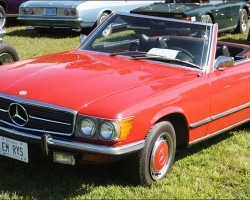 "(18 model years)  1972 - 1989 MERCEDES SL 2-SEATER, PICTURE A.  While ""107 body"" SLs saw many model name changes from 350SL to 560SL, only bumpers and wheels changed externally.  Here a 1973 450SL is shown - Photo credit: T. Higgins"