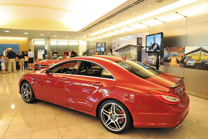 2012 Mercedes CLS in lobby of Mercedes-Benz Montvale headquarters.  (Photo credit: Carl Schwartz)