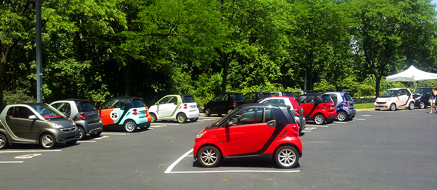 Some 2012 Smart cars in the parking lot of Mercedes-Benz headquarters in Montvale, New Jersey.  (Photo credit: Sean Connor)