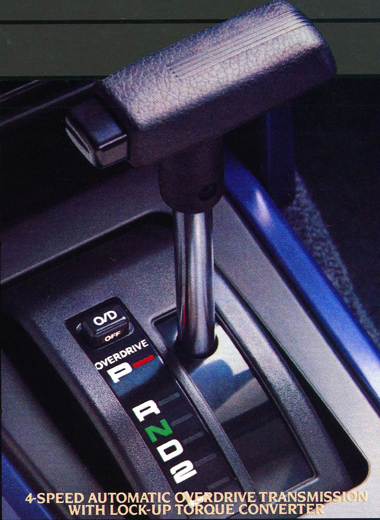A 4-speed automatic overdrive transmission was optional on Corolla Sport SR5 coupes during 1984 - 1987.  Gear shift levers looked like this for 1984 and '85.  (Photo credit: Toyota Motor of North America, Inc.)