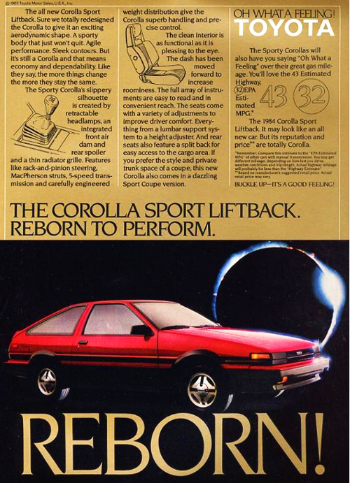 This U.S. market advertisement introduces the three-door liftback version of the 1984 Corolla Sport SR5.  (Photo credit: Toyota Motor of North America, Inc.)