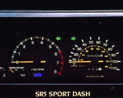 The Corolla SR5 instrument cluster, as shown in the U.S. model 1984 brochure.  (Photo credit: Toyota Motor of North America, Inc.)