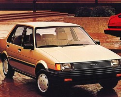 The 4-door sedan version of the 1984-87 Corolla.  While both sedans and Sport coupes used the same 1.6-liter engine, the sedan was switched to a front-wheel-drive platform.  U.S. market 1984 Corolla LE sedan shown.  (Photo credit: Toyota Motor of North America, Inc.)
