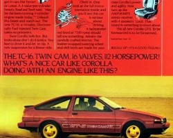 This U.S. market advertisement introduces the new GT-S version of the Corolla Sport for 1985, available in coupe and liftback form.  (Photo credit: Toyota Motor of North America, Inc.)
