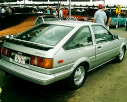 A view of the 1984 - 1985 style tail light assembly on SR5 and GT-S coupes.  1985 Corolla GT-S hatchback shown.  (Photo credit: D. Walsh)