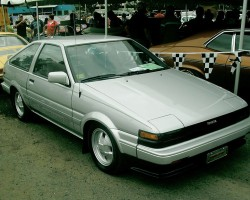 Unlike SR5s, Corolla GT-S models featured painted bumper covers front and rear.  1985 GT-S hatchback shown.