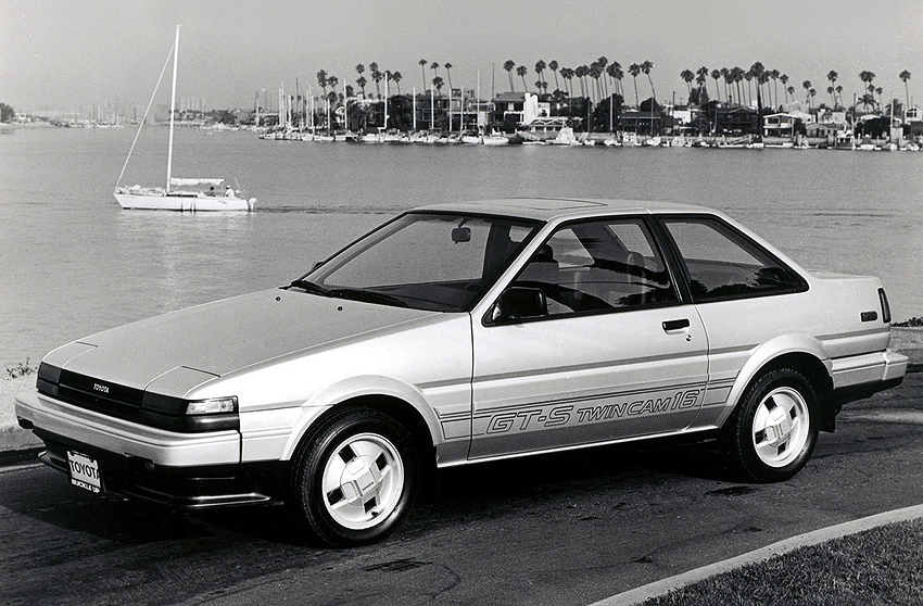 Left front view of the new-for-'85 Corolla Sport GT-S notchback coupe.  (Photo credit: Toyota Motor of North America, Inc)