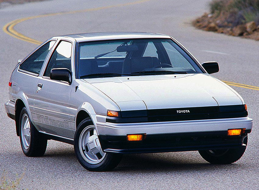 1985 Corolla GT-S hatchback right front view.  (Photo credit: Toyota Motor of North America, Inc)